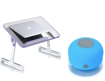 A8 Multi-angle Folding USB Fan Laptop Table with Water ResistantSilicone Bluetooth Speaker (Colors may vary)