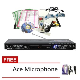 Ace MIDI-8574 Slim All In One Karaoke/DVD Player Set with Games andRadio (Black)