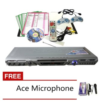 Ace MIDI-8593 Slim All In One Karaoke/DVD Player Set (Silver) withFree Ace-504 Microphone