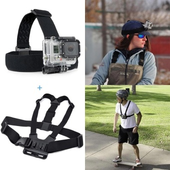 Action Camera Gopro Accessories Headband Chest Head Strap for Gopro Hero 3 3+ 4 SJ4000 Action Cam Helmet - intl