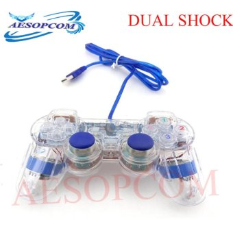 AESOPCOM Dual Shock 2 USB PC Gaming Controller TRANSPARENT FOR PCLAPTOP