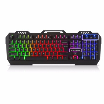 AESOPCOM K-12 Ergonomic USB LED Game Gaming Keyboard (Blue/Red/Purple/Green)BLACK