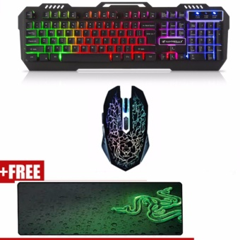 AESOPCOM K-12 USB LED Gaming Keyboard and Mouse Combo with FREERazer Gaming Mouse Pad