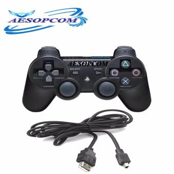 AESOPCOM Wireless Game Controller Pad for Playstation PS3 Dualshock with Charging Cable (Black)