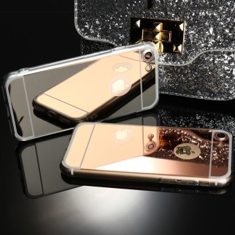 AKABEILA Luxury Metal Phone CaseFor Apple iPhone 6S Plus iPhone6S Plus iPhone 6 Plus iphone6 Plus 5.5 inch Plating TPU Frame+Mirror Back Cover Protective case Clear Color Mirror Cover Covers Phone Back Plastic Phone Cases Bag - intl