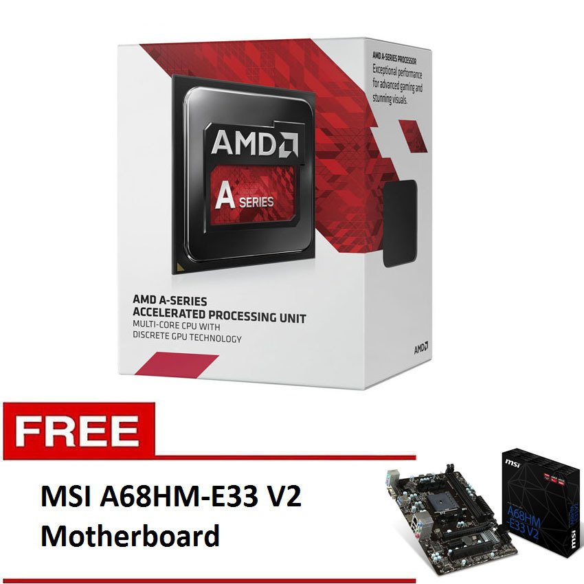 AMD A4-7300 3.8ghz Processor with Free MSI A68HM-E33 V2 Motherboard