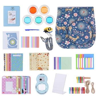 Andoer 14 in 1 Accessories Kit for Fujifilm Instax Mini 8/8+/8s w/Camera Case/Strap/Sticker/Selfie Lens/5*Colored Filter/Album/3Kinds Film Table Frame/10*Hanging Frame/40*Border Sticker/2*CornerSticker/Pen Outdoorfree - intl
