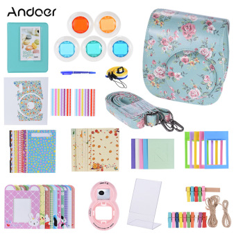 Andoer 14 in 1 Accessories Kit for Fujifilm Instax Mini 8/8+/8s w/Camera Case/Strap/Sticker/Selfie Lens/5*Colored Filter/Album/3Kinds Film Table Frame/10*Wall Hanging Frame/40*BorderSticker/2*Corner Sticker/Pen - intl