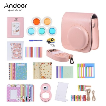 Andoer 14 in 1 Accessories Kit for Fujifilm Instax Mini 8/8+/8s/9 with Camera Case/Strap/Sticker/Selfie Lens/Filter/Album/3 Kinds Film Table Frame/10*Wall Hanging Frame/40*Border Sticker/2*Corner Sticker/Pen Pink - intl