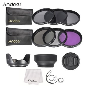 Andoer 49mm Lens Filter Kit UV+CPL+FLD+ND(ND2 ND4 ND8) with Carry Pouch / Lens Cap / Lens Cap Holder / Tulip & Rubber Lens Hoods / Cleaning Cloth - Intl