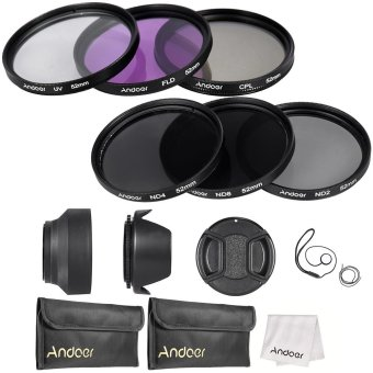 Andoer 52mm Lens Filter Kit UV+CPL+FLD+ND(ND2 ND4 ND8) with CarryPouch / Lens Cap / Lens Cap Holder / Tulip & Rubber Lens Hoods/ Cleaning Cloth Price Philippines