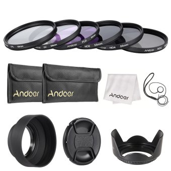 Andoer 55mm Lens Filter Kit UV+CPL+FLD+ND(ND2 ND4 ND8) with CarryPouch / Lens Cap / Lens Cap Holder / Tulip & Rubber Lens Hoods/ Cleaning Cloth Outdoorfree - INTL