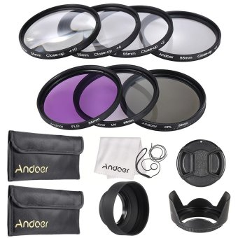 Andoer 55mm UV + CPL + FLD + Close-up(+1+2+4+10) Lens Filter Kit -INTL