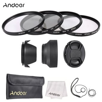 Andoer 67mm Lens Filter Kit (UV + CPL + Star+8 + Close-up+4 ) withLens Cap + Lens Cap Holder + Tulip & Rubber Lens Hoods +Cleaning Cloth
