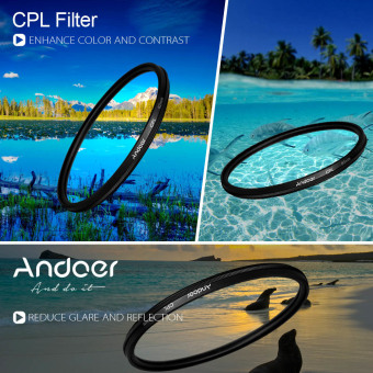 Andoer 77mm Filter Set UV + CPL + Star 8-Point Filter Kit with Casefor Canon Nikon Sony DSLR Camera Lens