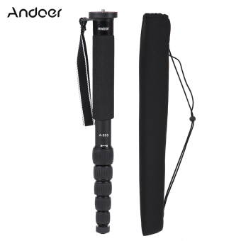 Andoer A-555 6-Section Compact Portable Photography Aluminum Alloy Monopod Unipod Stick for Nikon Canon Sony Pentax Camera Max. Load 10kg / 22lbs
