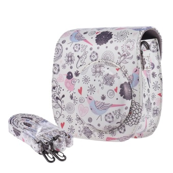 Andoer Compact Cute Lovely PU Leather Protective Camera Bag Carrying Case Pouch Cover Protector Bird Pattern w/ Shoulder Strap Album Pocket for Fujifilm Instax Mini 8+/8s/8 Camera ^ - intl