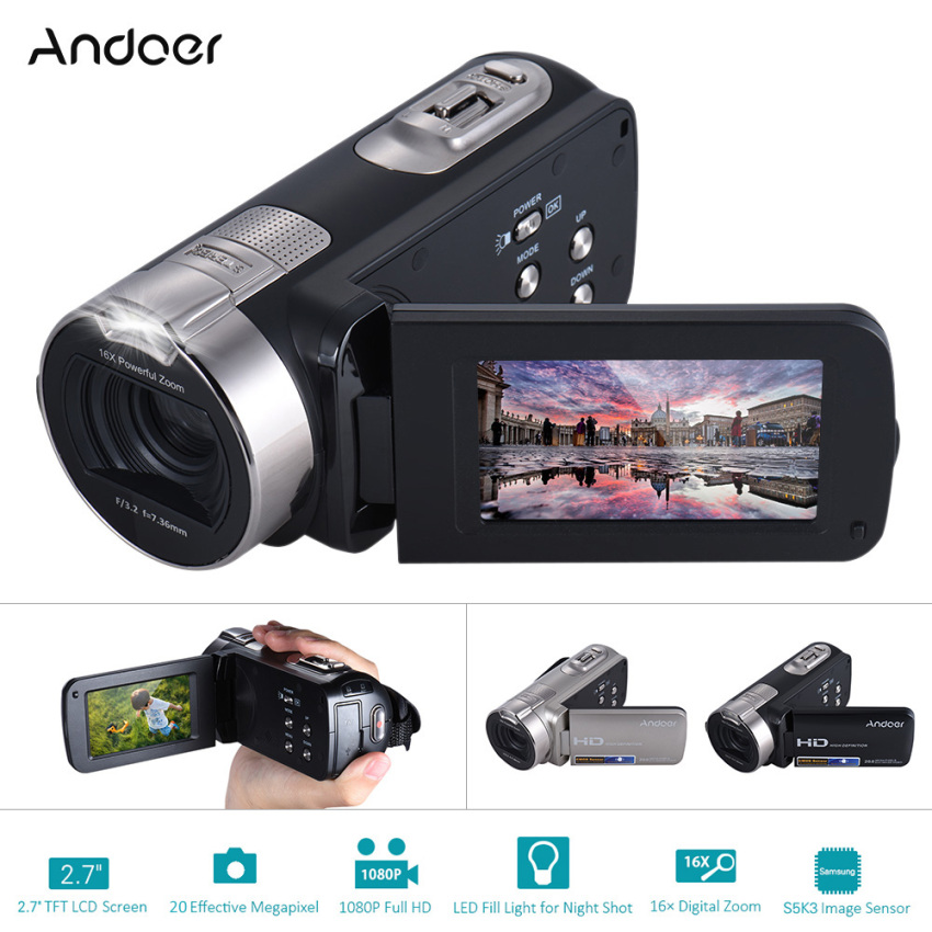 Andoer HDV-312P 1080P Full HD Digital Video Camera Portable Home-use DV with 2.7 Inch Rotating LCD Screen Max. 20 Mega Pixels 16? Digital Zoom - intl