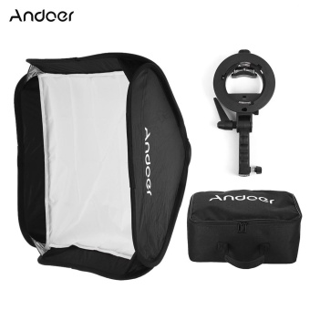 Andoer Photo Studio Multifunctional 40 * 40cm Folding Softbox with S-type Handheld Flash Speedlite Bracket with Bowens Mount and Carrying Bag for Portrait or Product Photography - intl