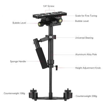 Andoer S40 Professional 40cm Aluminum Alloy Handheld Stabilizerwith Quick Release Plate and Clamp Base for Canon Nikon Sony DSLRCameras Lightweight Camcorders Max Load 2kg - intl - 2
