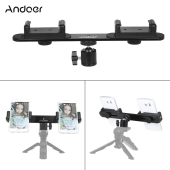 Andoer Smartphone Live Broadcast Bracket with Dual Phone Holders Clips Ball Head Tripod Adapter Mount for iPhone 7/ 7 Plus/ 6/ 6 Plus/ 6s - intl