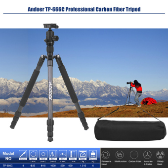 Andoer TP-666C Professional Carbon Fiber Tripod Kit 4 SectionsCamera Tripod with AD-10 Ball Head Max. Height 163cm Load Capacity6kg - intl - 3