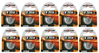 Ansmann CR 2016 3V Lithium Button Battery Cell Set of 10