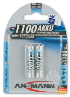 Ansmann NiMH AAA Rechargeable Battery Blister, Pack of 2
