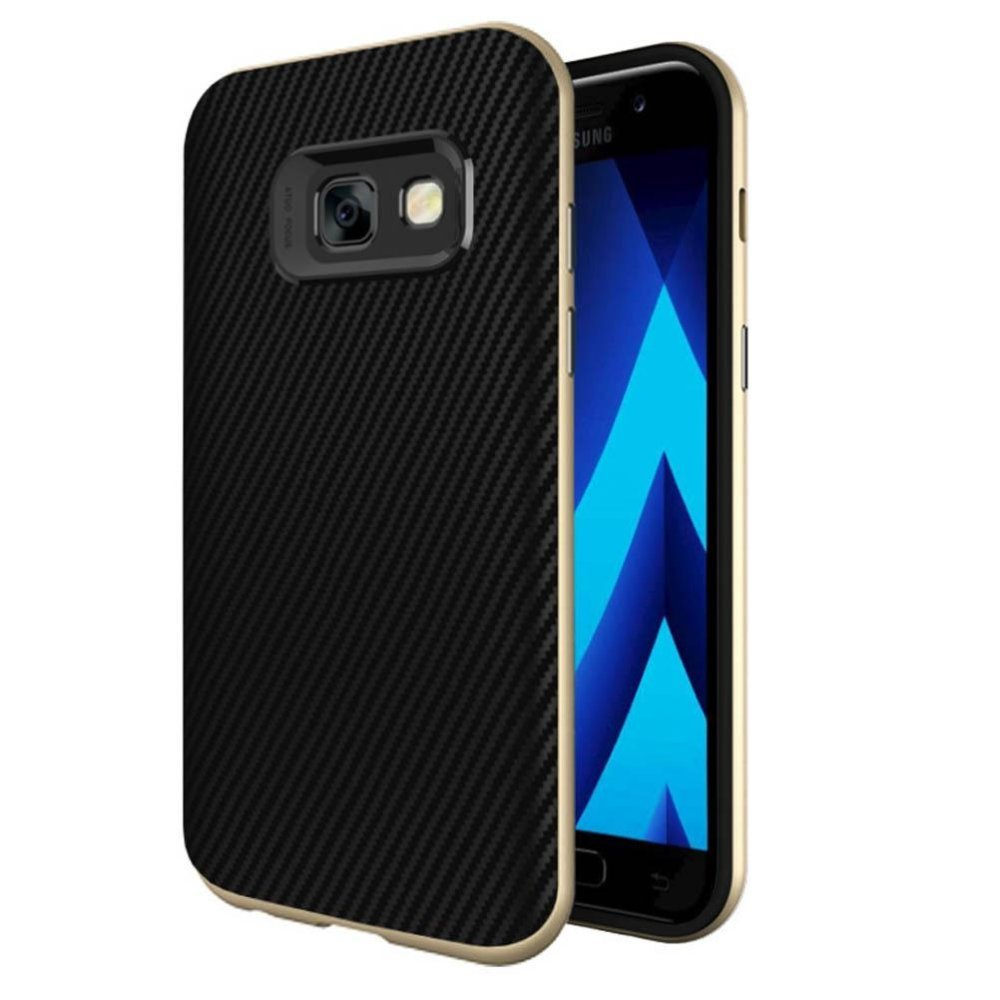 Anti-scratch Bumper + TPU Shockproof Carbon Fiber Case Cover forSamsung Galaxy .