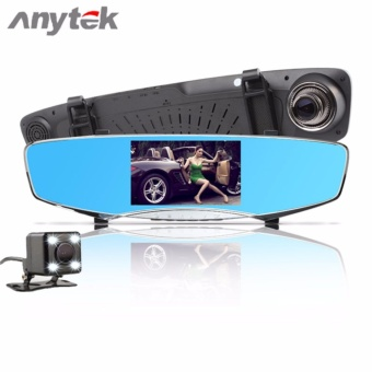 Anytek Q3D 5.0 inch HD Car Rear View Mirror Dash Camera Recorder (Silver)
