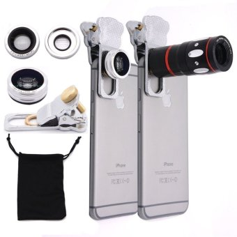 Apex 4 in 1 Universal Clip on Cell Phone Camera Lens Kit for iPhoneand Smartphones (Silver)