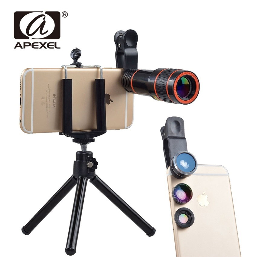 Apexel 5 in 1 12X Zoom Telephoto Telescope Optical Lens&Fisheye Wide Angle Macro Mobile Phone Lenses Universal For iPhone Sumgung - intl