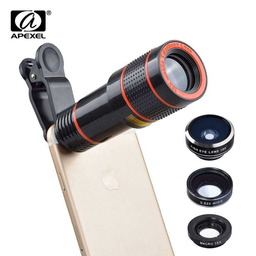 Apexel 5 in 1 12X Zoom Telephoto Telescope Optical Lens&Fisheye Wide Angle Macro Mobile Phone Lenses Universal For iPhone Sumgung - intl - 3
