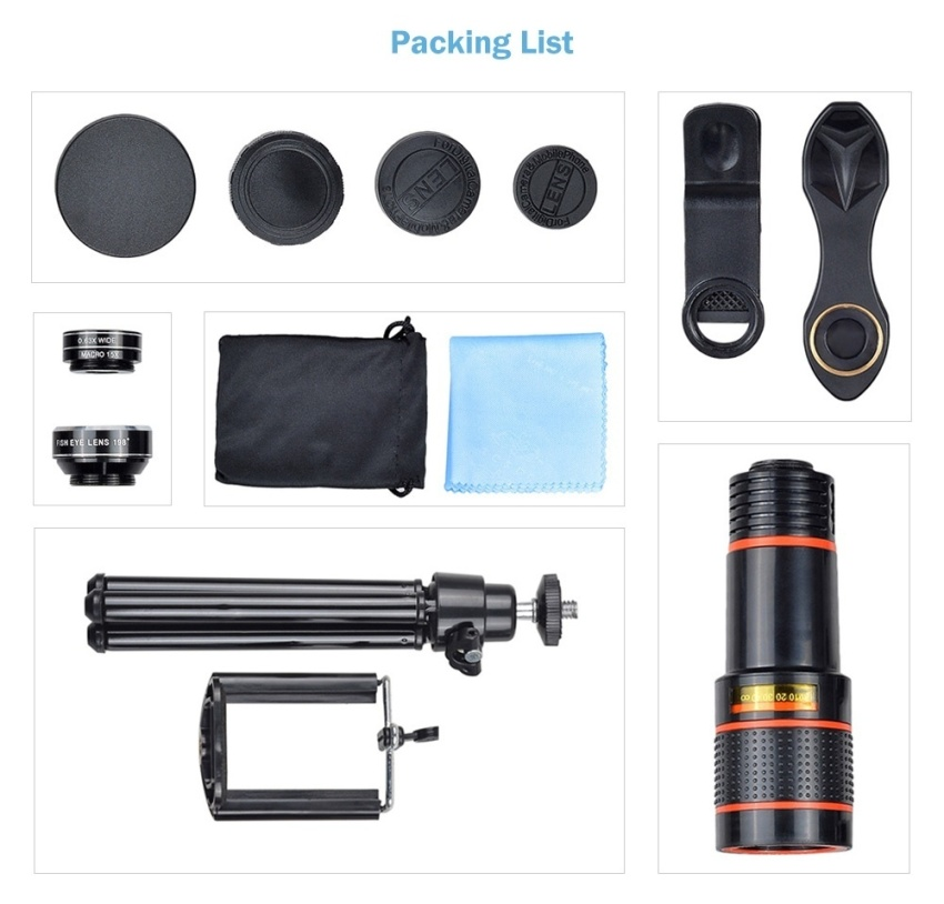 Apexel 5 in 1 12X Zoom Telephoto Telescope Optical Lens&Fisheye Wide Angle Macro Mobile Phone Lenses Universal For iPhone Sumgung - intl - 5