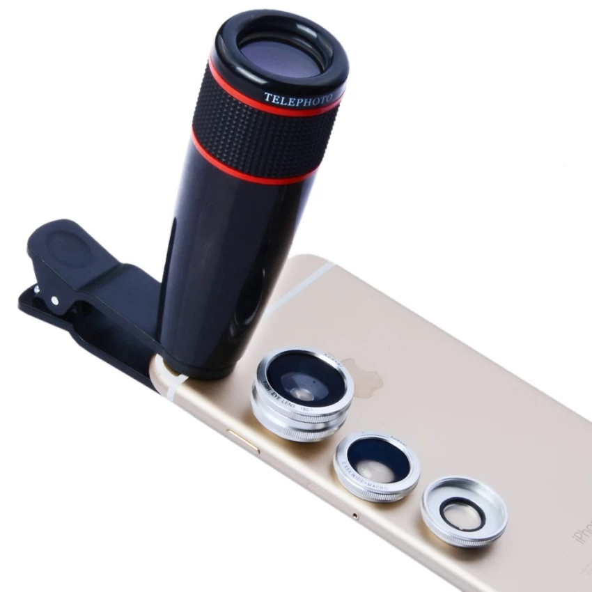 APEXEL Telephoto Telescope Optical Zoom Lens+ Wide Angle &Macro+ Fisheye Lens Camera Lens Kit for IPhone5s 7 6s Plus Samsung12CX3 (Silver) - intl