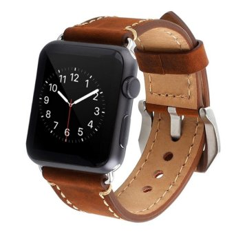 Apple Watch Band 38mm iWatch Strap Premium Vintage Genuine LeatherReplacement Watchband with Secure Metal Clasp Buckle for AppleWatch Sport Edition - intl