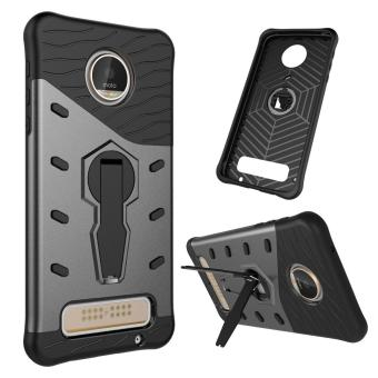 Armor Hybrid PC + TPU Kickstand Cover for Motorola Moto Z Play -Grey - intl Price Philippines