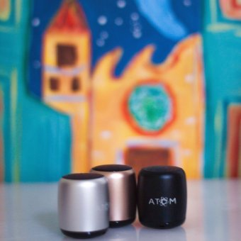 Atom Micro Portable Bluetooth Speaker (Silver) - 2