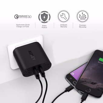 Aukey PA-T16 2-Port/Dual-Port Quick Charge 3.0 USB Wall Charger - 4