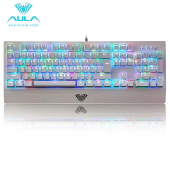 AULA OFFICIAL Wings of Liberty RGB Mechanical Gaming Keyboard 104keys Multicolors LED Backlit White(Black switch)
