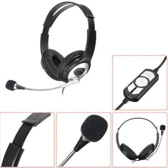 Autoleader USB Stereo Headphone Gaming Headset Earphone with MIC for PC Laptop Notebook (Black)