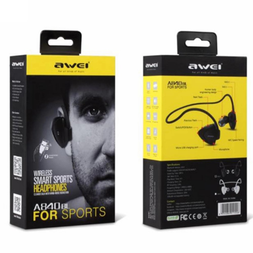 Awei A840BL Wireless Bluetooth 4.0 Music & Sport EarphoneStereo Sound Noise Cancelling In-ear Earbuds