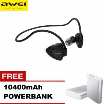Awei A840BL Wireless Bluetooth 4.0 Music & Sport EarphoneStereo Sound Noise Cancelling In-ear Earbuds (Black) with FREE10400mAh Power bank Price Philippines