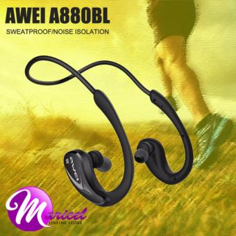 Awei A880BL Neckband NFC Bluetooth Noise-Isolation Sweat-Proof Ergonomic In-Ear Headset for Smartphones IOS iPhone (Black)