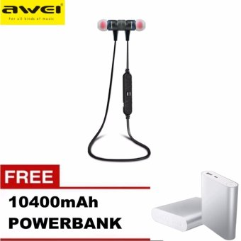 Awei A920BL Wireless Bluetooth 4.0 Sport Exercise Stereo Earbuds Built-in Microphone Earphone Headset with Free 10400mAh Power Bank (GREY)