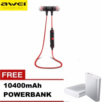 Awei A920BL Wireless Bluetooth 4.0 Sport Exercise Stereo Earbuds Built-in Microphone Earphone Headset with Free 10400mAh Power Bank (Red) Price Philippines