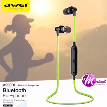 Awei A990BL Noise-Isolation Sweat-Proof Flat-Wire Wireless Bluetooth V4.0 Headset with Mic (Green/Black)