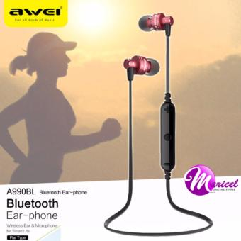 Awei A990BL Noise-Isolation Sweat-Proof Flat-Wire Wireless Bluetooth V4.0 Headset with Mic (Red/Black) Price Philippines