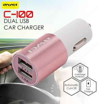 Awei C-100 2.4A Car Charger Quick Charge 2 Ports USB C100 (Pink)