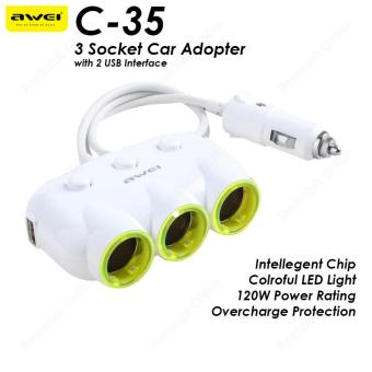AWEI C-35 120W 3 Way Charger Socket Splitter Car Charger Cigarette Lighter Adapter C35 (White)